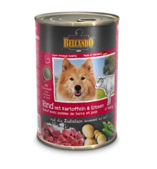 کنسرو بیف + سیب زمینی و نخود سبز  بلکاندو مخصوص سگ بالغ/ 400 گرمی