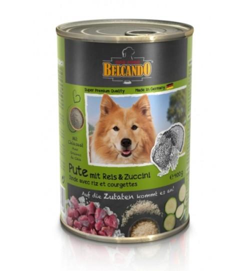 کنسرو گوشت بوقلمون + برنج و کدو سبز بلکاندو مخصوص سگ بالغ/ 400 گرمی