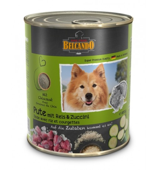 کنسرو گوشت بوقلمون + برنج و کدو سبز بلکاندو مخصوص سگ بالغ/ 800 گرمی