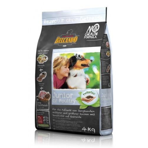 غذای خشک بدون غلات سگ در حال رشد بالای 4 ماه بلکاندو/ 4 کیلویی/ Belcando  JUNIOR GF Poultry
