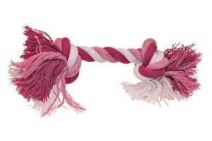 طناب دندانی 2 گره مخصوص سگ/ 15 سانتی/ صورتی