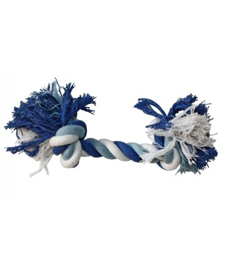 طناب دندانی 2 گره مخصوص سگ/ 20 سانتی/ آبی