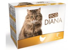 پوچ گربه DIANA با گوشت مرغ - بسته 12 تایی