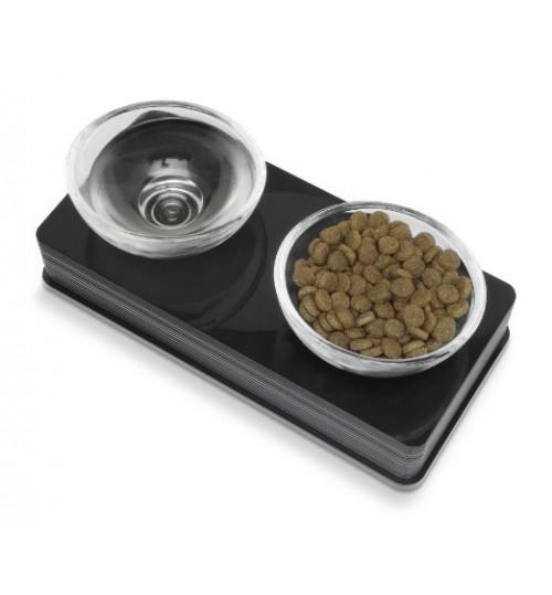 ظرف آب و غذای دوتایی با پایه مشکی / گربه و سگ های کوچک