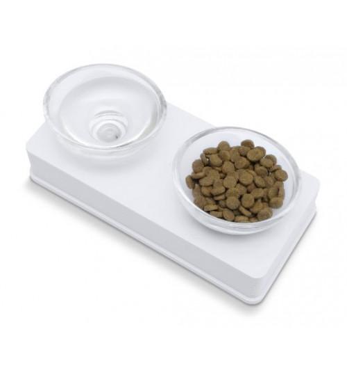ظرف آب و غذای دوتایی با پایه سفید/ گربه و سگ های کوچک