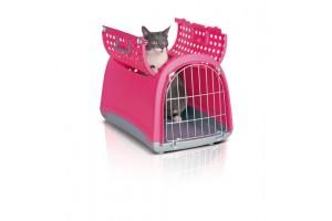 باکس حمل و نقل Linus Cabrio  درب از بالا  مخصوص سگ, گربه  و حیوانات کوچک/  صورتی