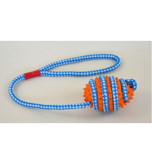 اسباب بازی توپ راگبی  با طناب  مخصوص سگ