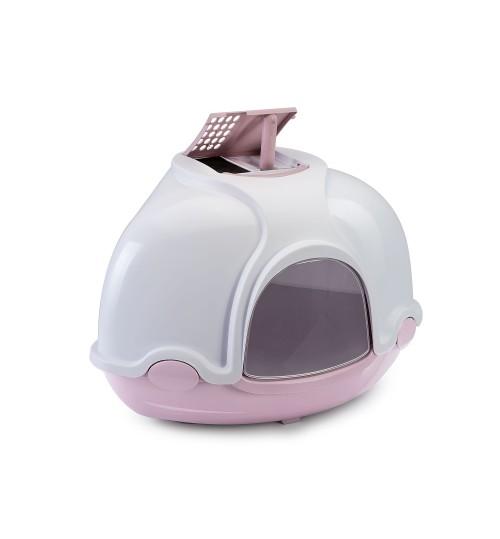توالت سه گوش سقف دار مخصوص گربه Ginger / صورتی