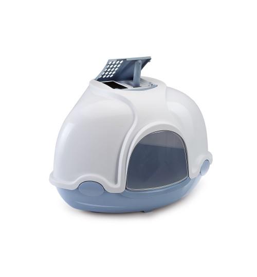 توالت سه گوش سقف دار مخصوص گربه Ginger / آبی