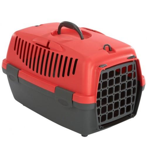باکس حمل  Gulliver 1 با درب پلاستیکی مخصوص سگ و گربه/ طوسی- قرمز