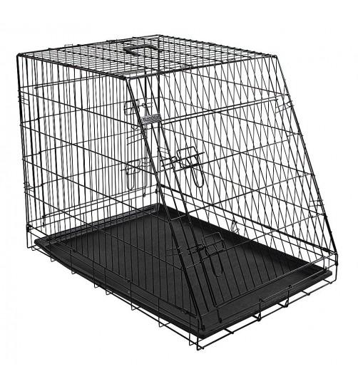 قفس فلزی سگ با دیواره مورب جلو/ در 3 سایز