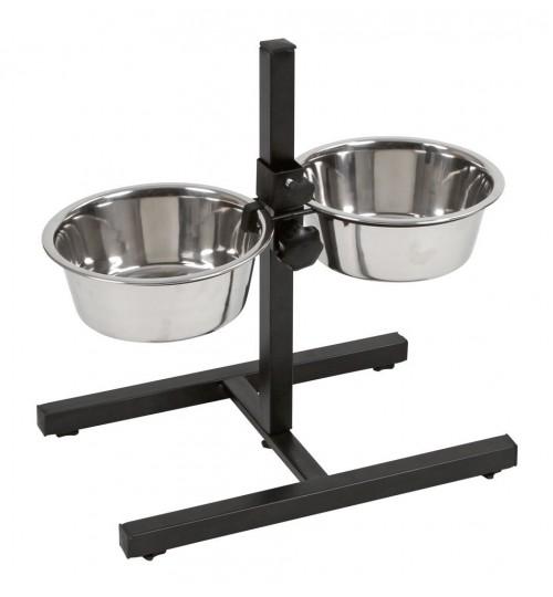 ظرف غذای استیل پایه دار مخصوص سگ/ 1800× 2 میلی لیتر