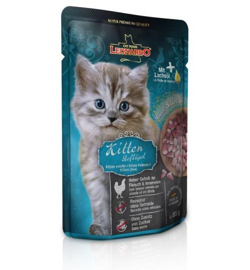 پوچ گوشت ماکیان لئوناردو  مخصوص  بچه گربه/ 85 گرم/ LEONARDO Kitten Poultry