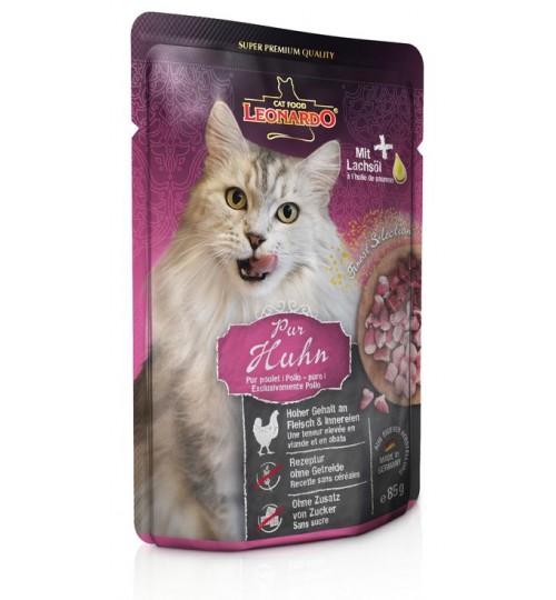 پوچ مرغ  لئوناردو  مخصوص گربه بالغ/ 85 گرم/ LEONARDO PURE CHICKEN