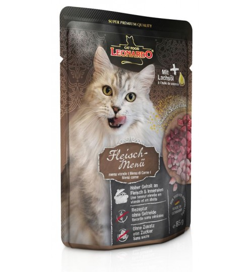 پوچ مخلوط گوشت لئوناردو  مخصوص گربه بالغ/ 85 گرم/ LEONARDO MEAT MENU
