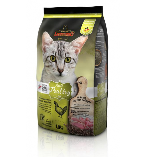 غذای خشک بدون غلات لئوناردو مخصوص گربه های مبتلا به حساسیت غذایی/ 1800 گرم/ LEONARDO Adult Poultry GF