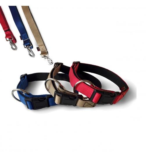 قلاده گردنی تسمهای دولایه سگ - سایز ۳ همراه با لید