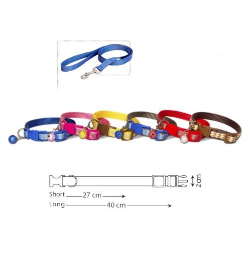 قلاده گردنی تسمهای سگ - طرح زیگزاگ سایز 2 همراه با لید