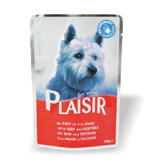 پوچ سگ PLAISIR - گوشت گاو و سبزیجات