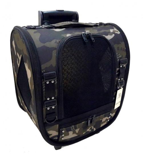 کیف حمل چرخ دار (ترالی)  سگ و گربه - طرح ارتشی