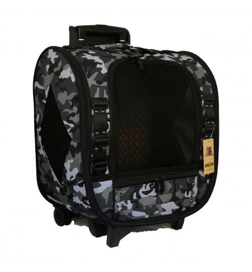کیف حمل چرخ دار (ترالی)  سگ و گربه - طرح ارتشی 2