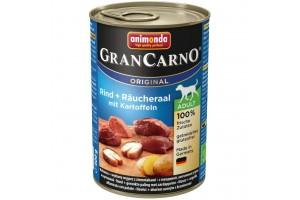 کنسرو گوشت گاو و مارماهی دودی با سیب زمینی مخصوص سگ بالغ/ 400 گرمی/ Animonda GranCarno Beef + smoked eel with potatoes