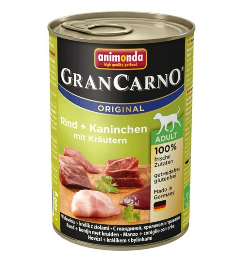 کنسرو گوشت گاو و خرگوش با سبزیجات مخصوص سگ بالغ/ 400 گرمی/ Animonda GranCarno Beef + rabbit with herbs