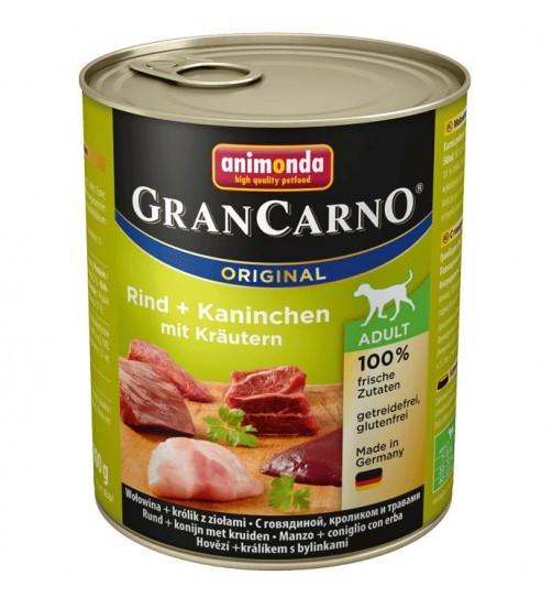 کنسرو گوشت گاو و خرگوش با سبزیجات مخصوص سگ بالغ/ 800 گرمی/ Animonda GranCarno Beef + rabbit with herbs