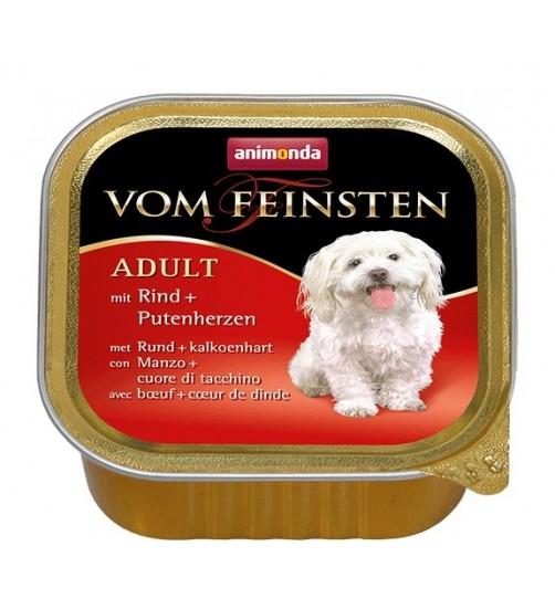 کنسرو گوشت گاو + دل بوقلمون Vom Feinsten مخصوص سگ بالغ/ 150 گرم