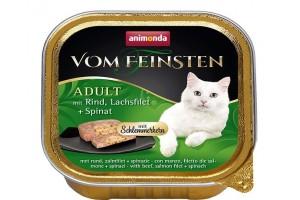 کنسرو  گوشت گاو و فیله سالمون با اسفناج  Vom Feinsten مخصوص گربه بالغ