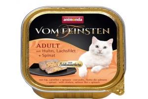 کنسرو  مرغ و فیله ماهی سالمون با اسفناج  Vom Feinsten مخصوص گربه بالغ