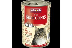کنسروگوشت گاو و ماکیان  BROCCONIS مخصوص گربه بالغ/ 400 گرمی