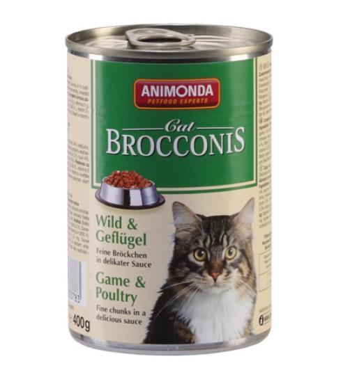 کنسروگوشت شکار + ماکیان BROCCONIS مخصوص گربه بالغ/ 400 گرمی
