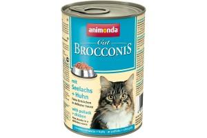 کنسروگوشت مرغ و ماهی پولاک  BROCCONIS مخصوص گربه بالغ/ 400 گرمی