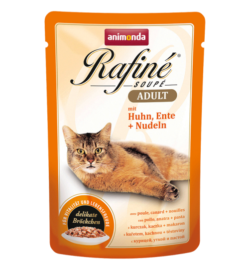 پوچ گربه Rafiné حاوی گوشت مرغ و اردک + پاستا/ 100 گرمی