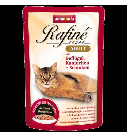 پوچ گربه Rafiné حاوی گوشت مرغ و خرگوش + ژامبون/ 100 گرمی