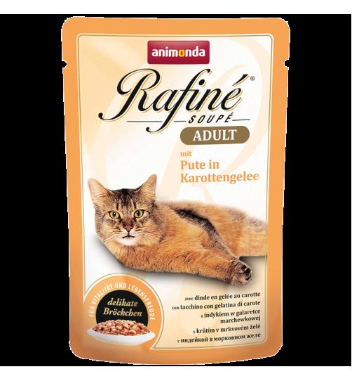 پوچ گربه Rafiné حاوی گوشت بوقلمون در ژله هویج/ 100 گرمی