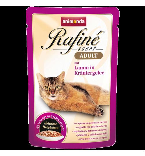 پوچ گربه Rafiné حاوی گوشت بره در ژله سبزیجات/ 100 گرمی