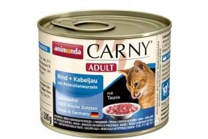 کنسرو  گوشت گاو  و ماهی کاد + ریشه جعفری CARNY مخصوص گربه بالغ/ 200 گرمی