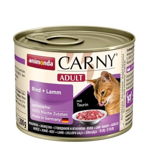 کنسرو گوشت گاو و بره CARNY مخصوص گربه بالغ/ 200 گرمی