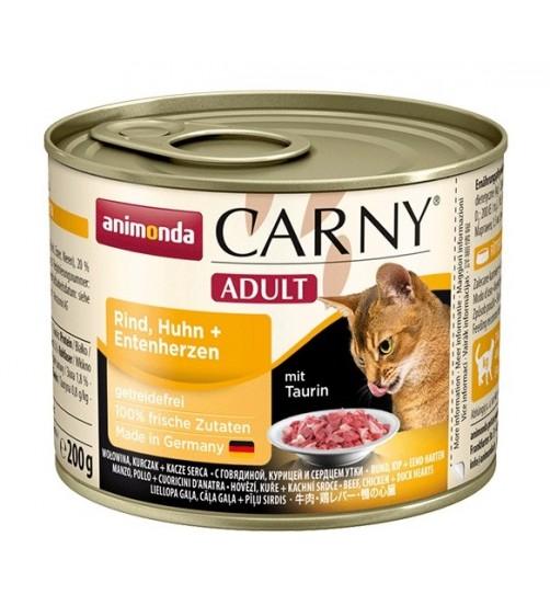 کنسرو گوشت گاو و مرغ + دل اردک کارنی مخصوص گربه بالغ/ 200 گرمی
