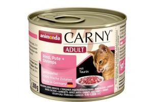 كنسرو گوشت گاو،  بوقلمون و ميگو  CARNY مخصوص گربه بالغ/ 200 گرمی