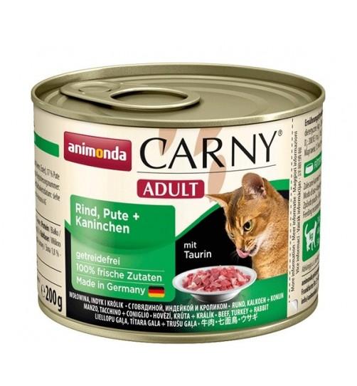 کنسرو گوشت گاو،بوقلمون و خرگوش CARNY مخصوص گربه بالغ/ 200 گرمی