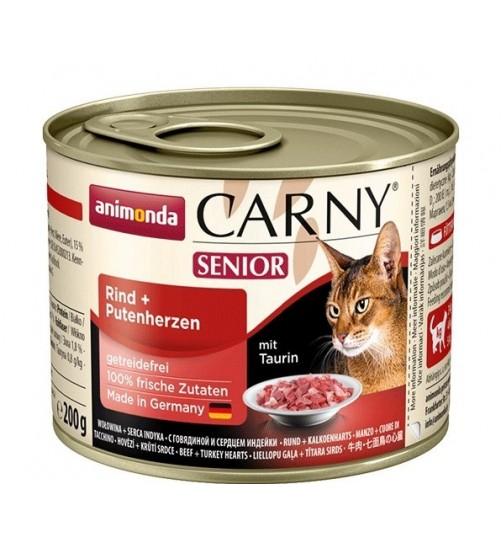 کنسرو گوشت گاو و دل بوقلمون CARNY  مخصوص گربه بالای 7 سال/ 200 گرمی