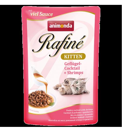 پوچ گوشت ماکیان و میگو  Rafiné مخصوص بچه گربه /100گرمی