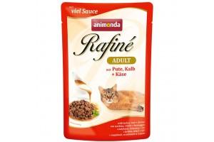 پوچ گربه Rafiné حاوی گوشت بوقلمون و گوساله با پنیر