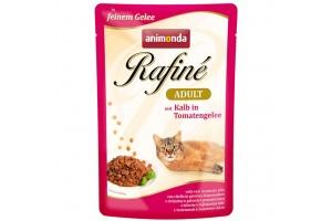 پوچ گربه Rafiné حاوی گوشت گوساله در سس گوجه فرنگی/ 100 گرمی