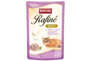 پوچ گربه Rafiné حاوی گوشت بوقلمون و بره در سس ماست خامه ای/ 100 گرمی