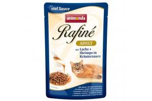 پوچ گربه Rafiné حاوی ماهی سالمون و میگو در سس سبزیجات