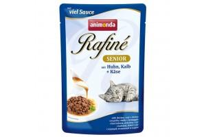پوچ گربه Rafiné حاوی گوشت مرغ و گوساله با پنیر  مخصوص گربه مسن